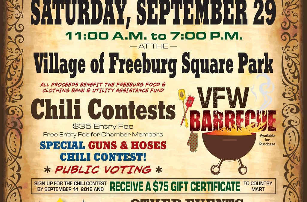 Annual Freeburg Chamber Chili Cook Off and Fall Festival September 29