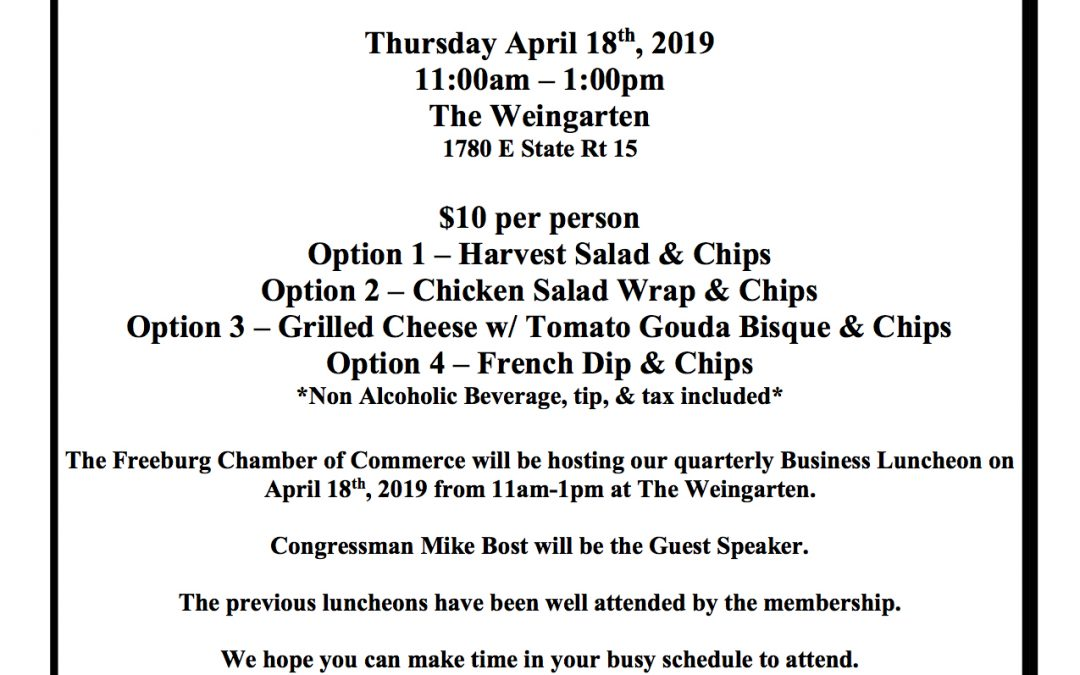 Freeburg Chamber to Hold Business Luncheon April 18