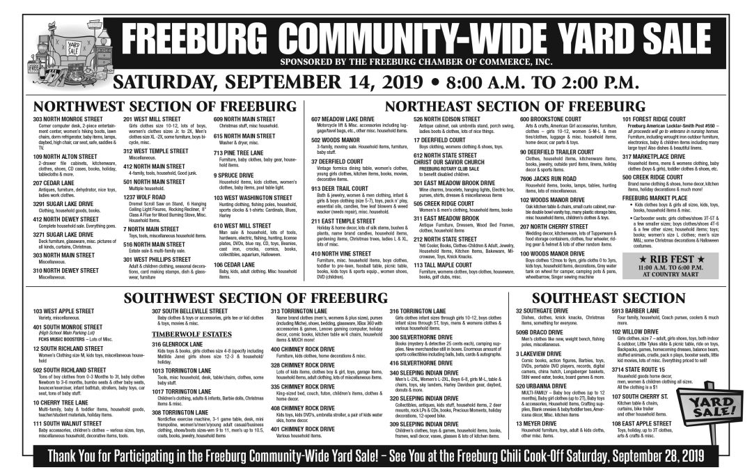 Community Yard Sale List